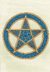 blue and gold Pentacle
